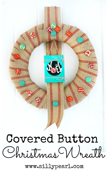 Covered Button Christmas Wreath by The Silly Pearl