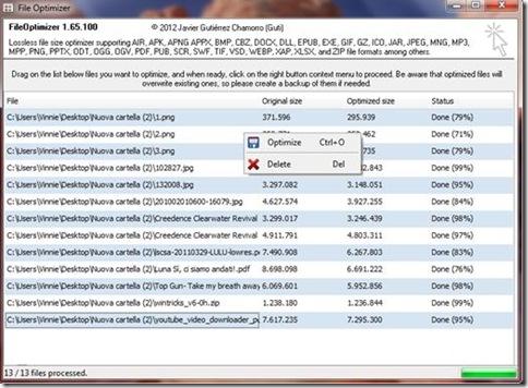 Comprimere PDF File Optimizer