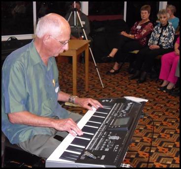 Guest, John Perkin, brought his Korg Pa3X keyboard