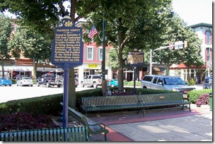 Franklin County marker in front in Chambersburg, PA town square.