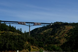 working on a bridge on I-80, viewed from the America River south of Auburn