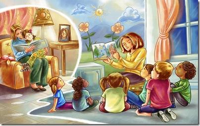 poze copii - mama spune o poveste