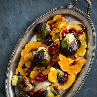 Maple Glazed Roasted Delicata Squash and Brussels Sprouts