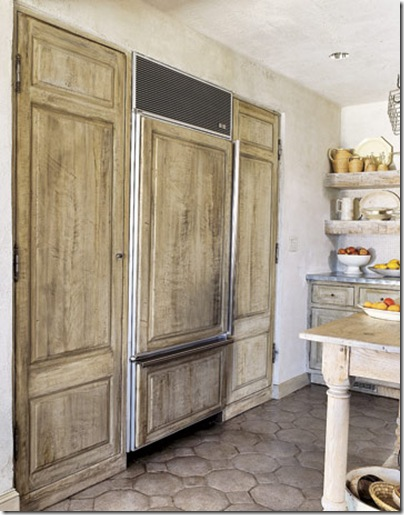 refrigerator with cabinet front