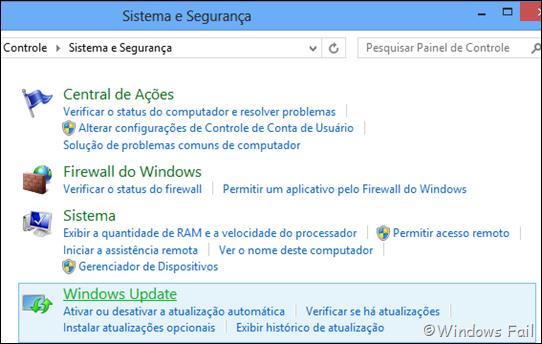 Clique em Windows Update