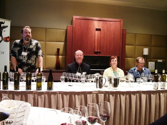 BCWAS President Brian, Winemaker Mark, Proprietors Evelyn & Chris