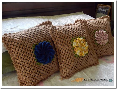 Almofada Croche Flor Lã 1