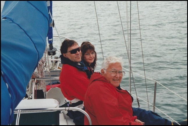 Brenda, JB, Dad Sailing