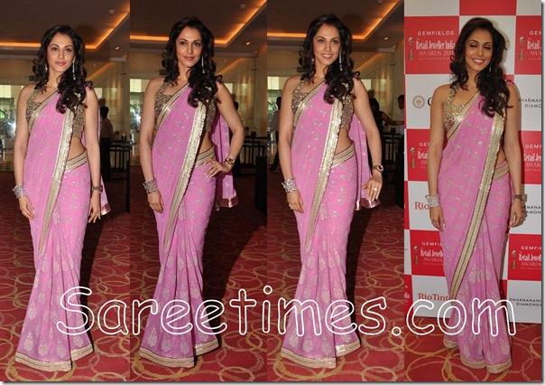 Isha_Koppikar_Pink_Designer_Saree