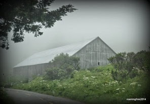 Barn in the fog