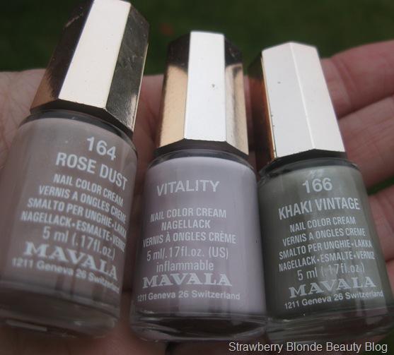 Mavala Rose Dust, Vitality & Khaki Vintage