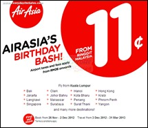 AirAsia's 11th Birthday Bash! Fares from 11 sen only Branded Shopping Save Money EverydayOnSales