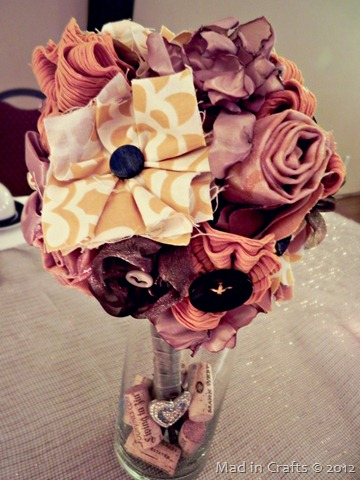 fabric flower bouquet in yellows