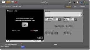 Pantalla de edición de subtítulos de CaptionsTube
