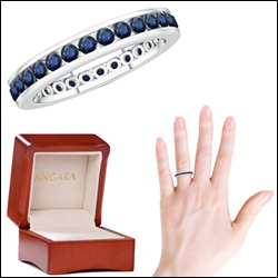 Round Blue Sapphire Eternity Band