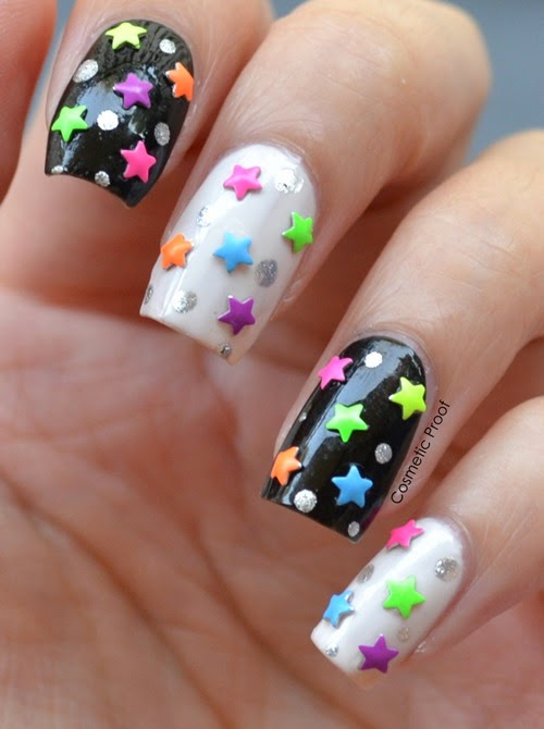 Neon Star Studded Night Sky Nail Art Cosmetic Proof Vancouver
