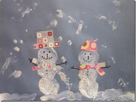 snowman, marshmallow, painting