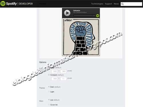 Widget Spotify para blog - Imagen Opciones adicionales