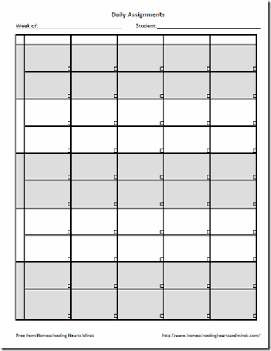 picture relating to Printable Assignment Sheet named Homeschooling Hearts Minds: No cost Weekly Assignment Sheet