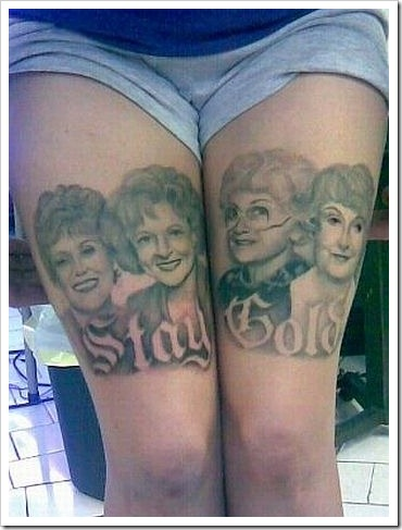 Funny leg tattoo.
