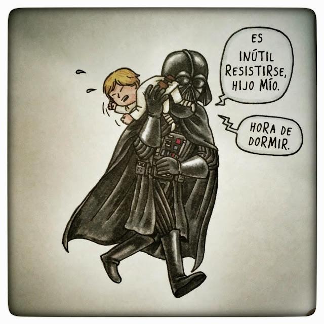 Ilustración del libro 'Darth Vader e hijo', de Jeffrey Brown. editado por Planeta.