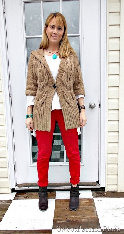 red skinny jeans, tan chunky sweater, brown booties1
