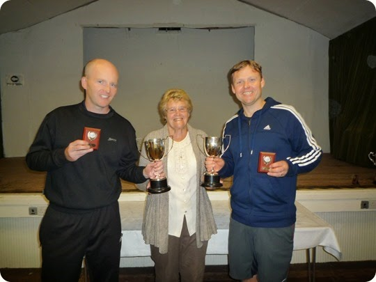Mens Doubles winners Paul Unwin and Jonathan White with Margaret Maddock WJTC Vice Chairman