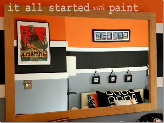 Teen Room orange gray black mirror