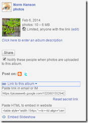 Picasa Web Album, sharing an album direct link