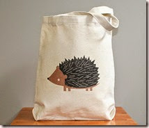 Canvas tote bag, hedgehog