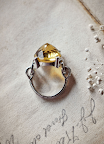 Inverted quartz on Anna Sheffield's Elenore cocktail ring.