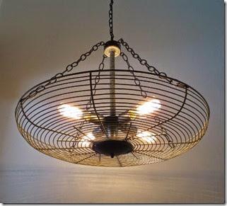 industrial lighting- repurposed fan