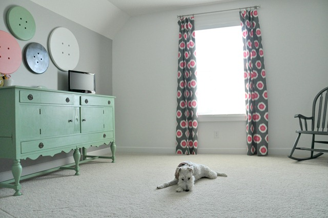 DIY curtains and a sleepy Wire Fox Terrier