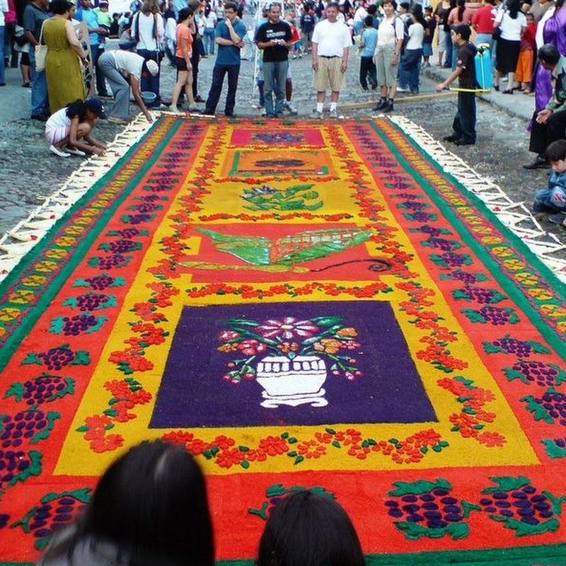Sawdust Carpets During Semana Santa in Antigua