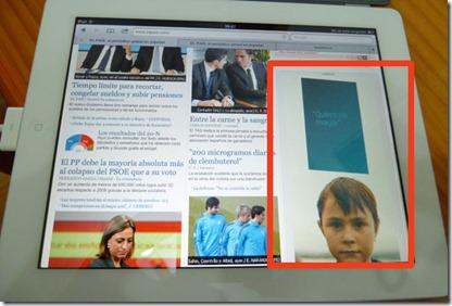 Web del pais.com vista con el iPad, hay un banner publicitario que sí se muestra como una animación