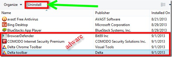 uninstall delta toolbar