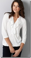 ann taylor white ruffled front shirt