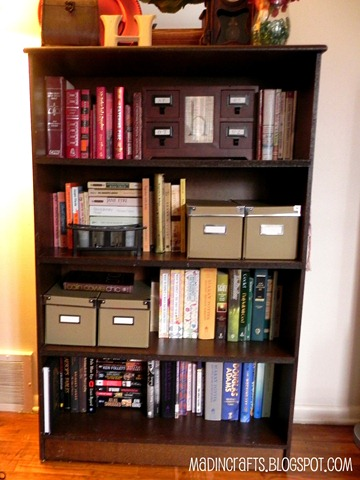 bookshelf without scrapbook paper
