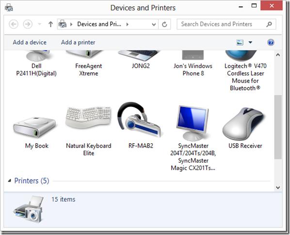 dispositivos e impresoras