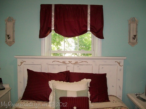 repurposed door into headboard