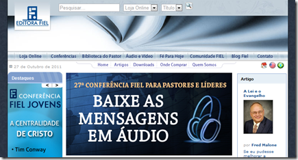 Screenshot da página inicial do site da editora Fiel