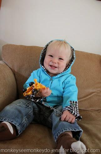 gingham baby hoodie
