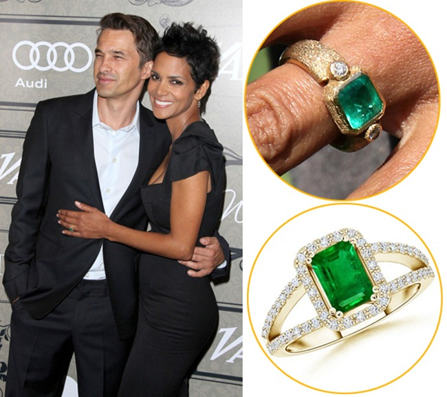 Halle Berry Yellow Gold Emerald Ring