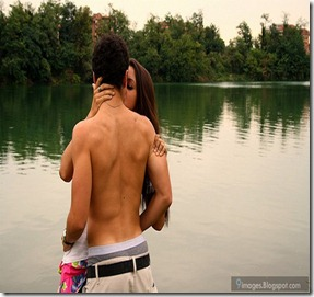 Kissing-couple-lake-affection-hug-shirtless-boy