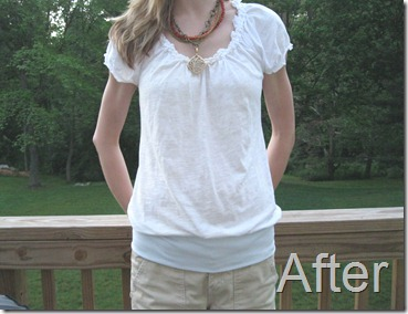 refashioned banded bottom shirt
