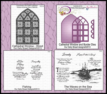 Cathedral Window-Wood, Cathedral Window and Border Dies, Fishing, The Waves on the Sea, Our Daily Bread designs
