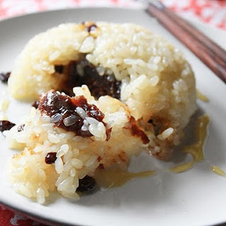 Glutinous Rice with Red Bean Paste, Walnuts, and Currants