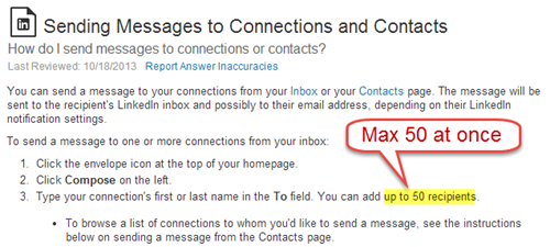 LinkedIn: max 50 email recipients