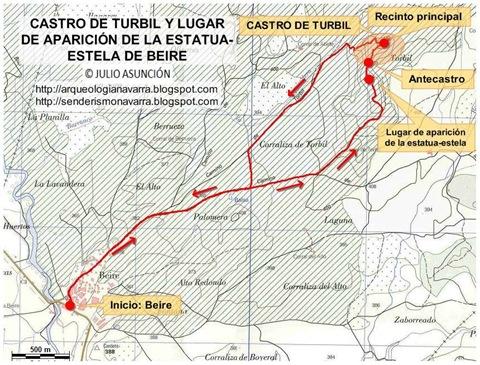 Mapa ruta Castro de Turbil y estatua-estela