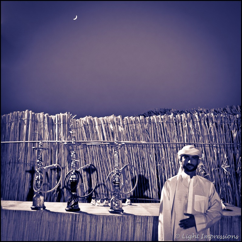 UAE - Hookah In The Desert, crescent moon in background